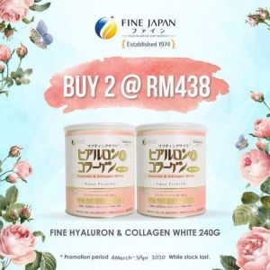 2罐FINE Hyaluron & Collagen White 240G-白桃口味&Rm438+送1 FINE SHAKE『首30位』